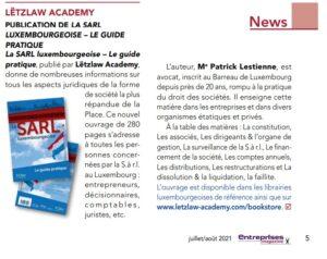 Publication du livre La SARL luxembourgeoise dans Entreprises Magazine